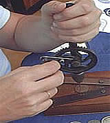 Drilling coin in preparation for cutting