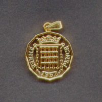 Cut out Threepence coin pendant avilable from 1953 to 1967 for birth years