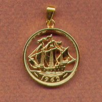 Cut out Ship Halfpenny pendant