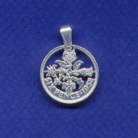 Sixpence coin pendant available in the following years:1953,1954,1955,1956,1957,1958,1959,1960,1961,1962,1963,1964,1965,1966,1967.