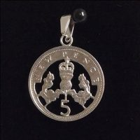 Cut Five pence, 5p coin pendant available from 1968 to 1980.