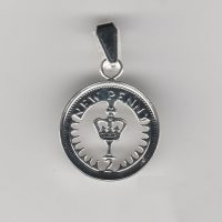 Decimal Halfpenny coin pendant available from 1971 to 1981