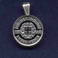 Cut out Silver Threepence coin pendant